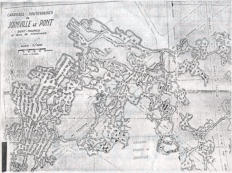 carte de circulation des carrières de Joinville-stade avant les injections
